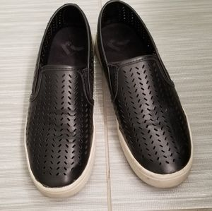 Womans black slip ons